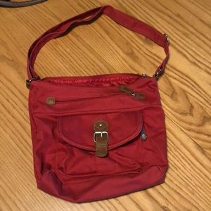 Cross body satchel, dark red
